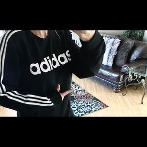 New adidas 3 stripe sweatshirt black